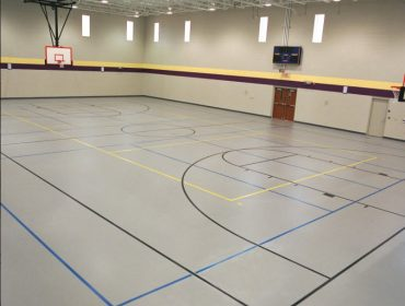 Rubber flooring in sport facility